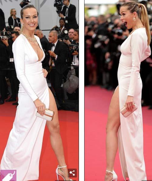 Lại một mỹ nữ khác phải xấu hổ vì váy xẻ cao tại Cannes - 2