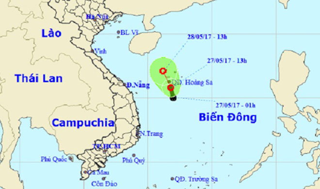 Nóng 24h qua: Áp thấp xuất hiện trên Biển Đông, áp sát quần đảo Hoàng Sa - 1