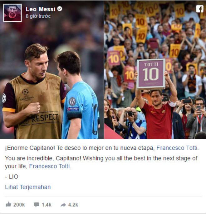Tin HOT bóng đá sáng 31/5: Messi nghẹn ngào tri ân Totti - 1