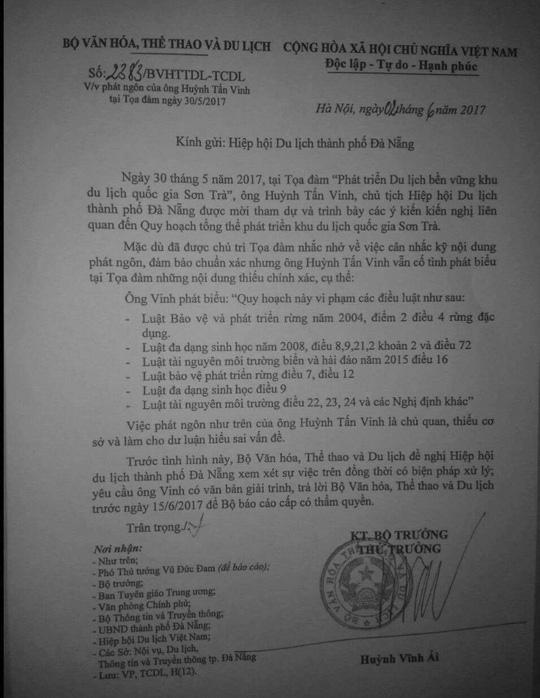 Bộ VH-TT-DL huỷ văn bản yêu cầu xử lý ông Huỳnh Tấn Vinh - 1