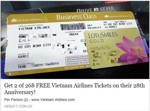 Rộ mánh lừa đảo tặng vé máy bay - 1