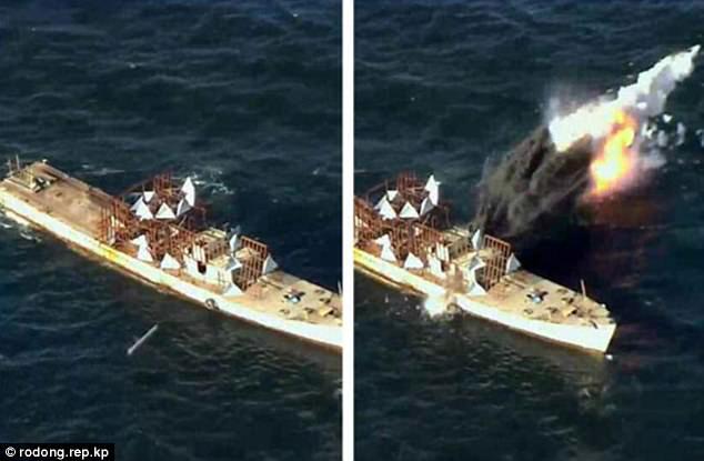 Triều Tiên tung ảnh tên lửa diệt hạm xuyên thủng tàu chiến - 1
