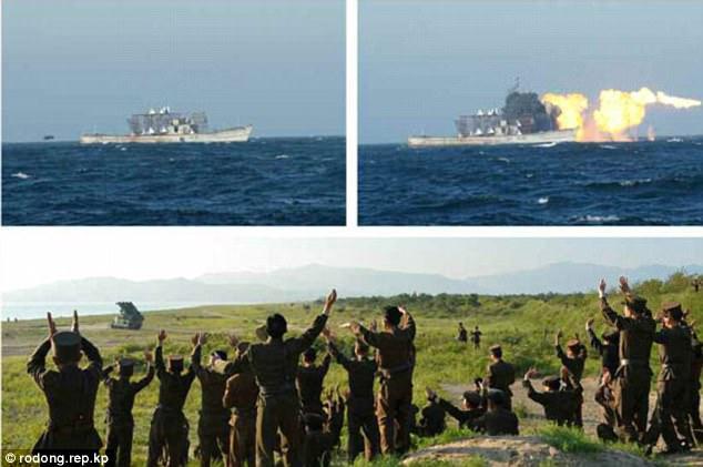 Triều Tiên tung ảnh tên lửa diệt hạm xuyên thủng tàu chiến - 4