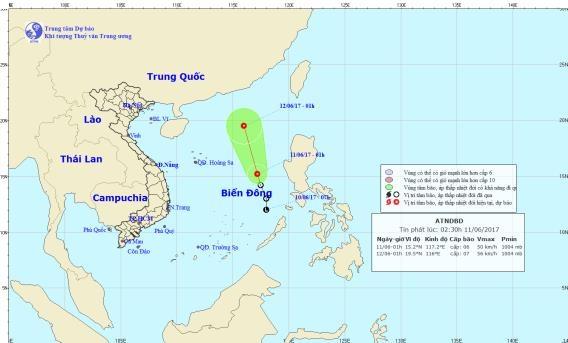 Tin mới về áp thấp nhiệt đới trên biển Đông - 1