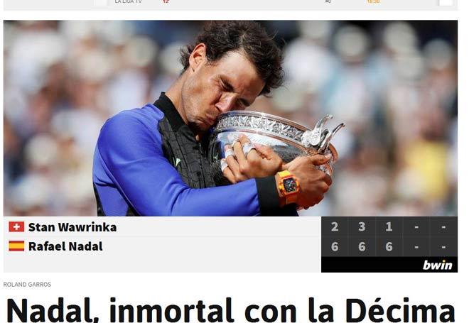 """Báo chí thế giới: Vô địch Roland Garros, """"Người ngoài hành tinh"""" Nadal - 3"""