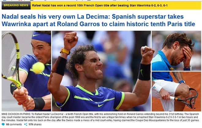 """Báo chí thế giới: Vô địch Roland Garros, """"Người ngoài hành tinh"""" Nadal - 4"""