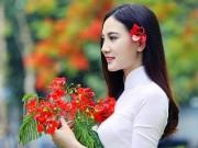 """Thiếu nữ đẹp như bức tranh bên loài hoa  """" nữ hoàng tháng 6 """""""