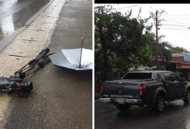 Phóng viên VTV bị ô tô đâm, nghiền nát máy quay tiền tỷ - 1