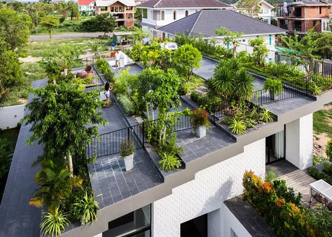 Mái nhà được chia thành nhiều nhịp, xếp tầng như bậc thang, được phủ xanh các loại cây cảnh vô cùng độc đáo.