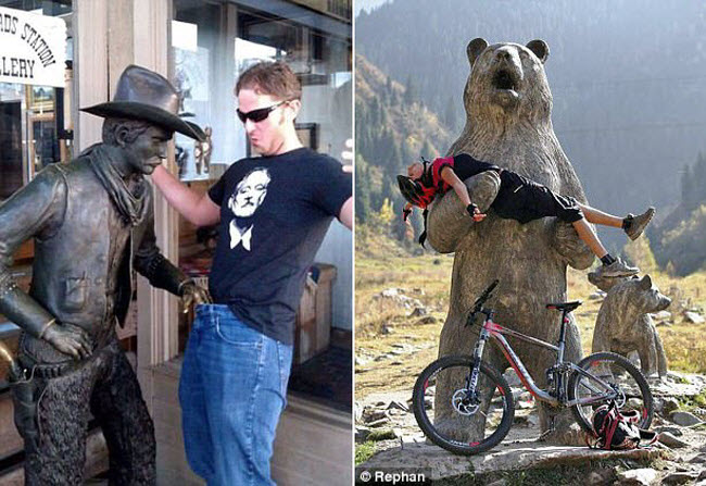 Cao bồi tò mò kéo quần du khách (trái), trong khi người đi xe đạp được gấu nhắc bổng (phải).