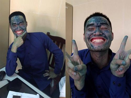 """Nam sinh trường Mỏ mang khuôn mặt """"xanh lét"""" đi bảo vệ tốt nghiệp - 2"""