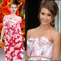 Jessica Alba xúng xính váy hoa đi xem thời trang