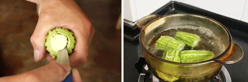 Mướp đắng nhồi trứng mặn - 2