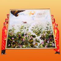 Kỷ lục Việt Nam: Bức tranh thêu hoa sen qua nhiều tỉnh nhất