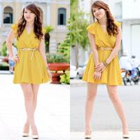 Hot girl Linh Genie tươi tắn trên phố Sài Gòn