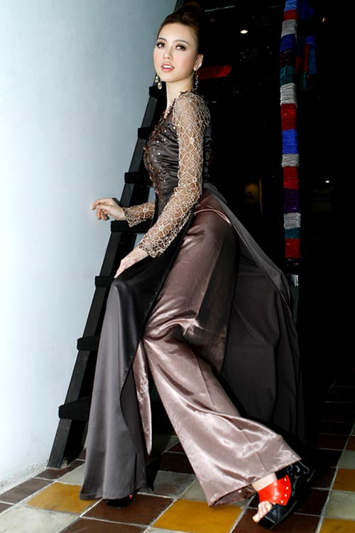 Hoàng Yến yểu điệu cùng áo dài ren - 5
