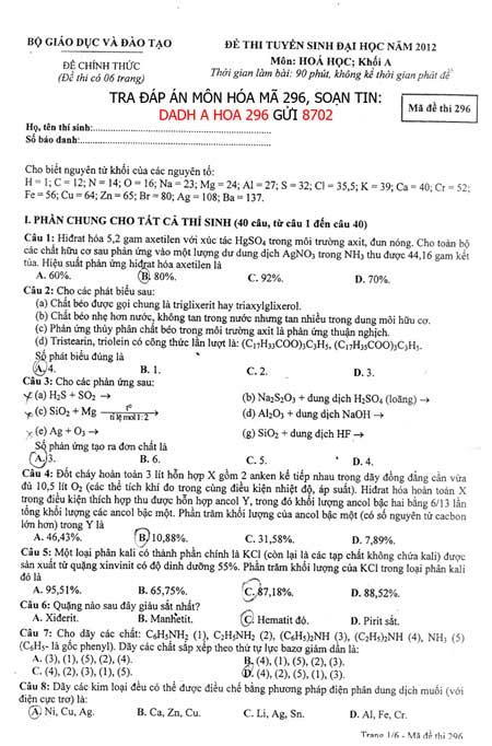 Đề thi đại học môn Hóa học khối A - 1