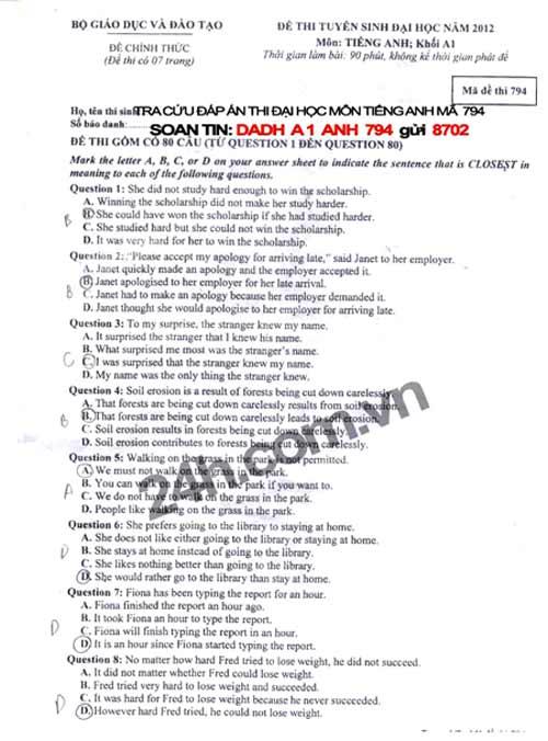 Đề thi đại học môn Tiếng Anh khối A1 - 1