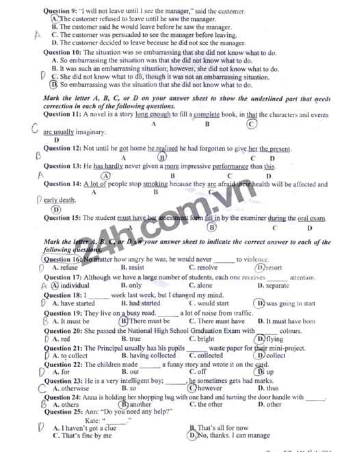 Đề thi đại học môn Tiếng Anh khối A1 - 2
