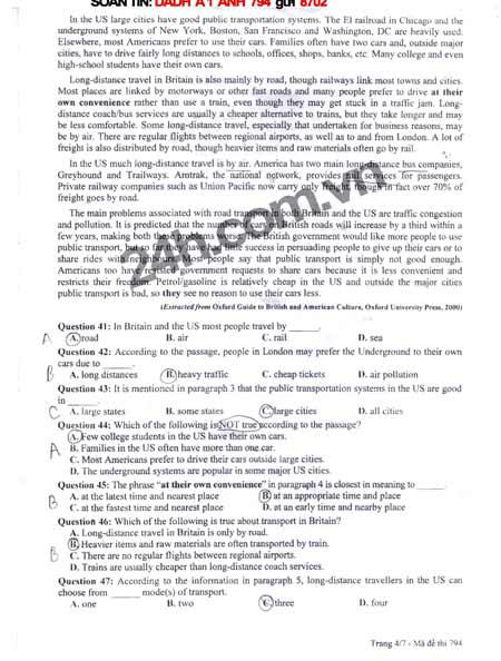 Đề thi đại học môn Tiếng Anh khối A1 - 4
