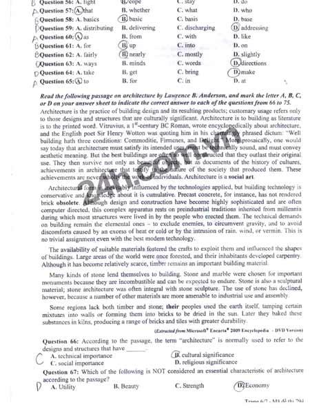 Đề thi đại học môn Tiếng Anh khối A1 - 6
