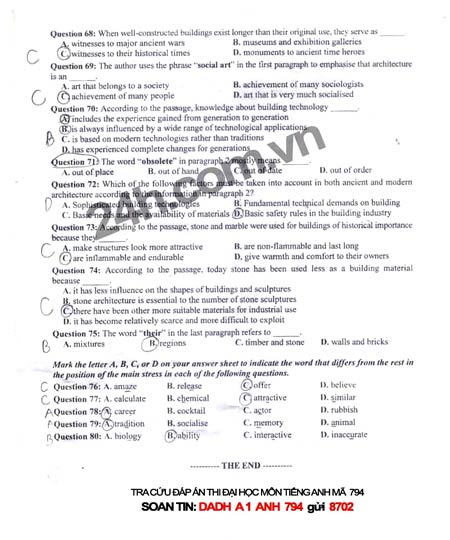 Đề thi đại học môn Tiếng Anh khối A1 - 7