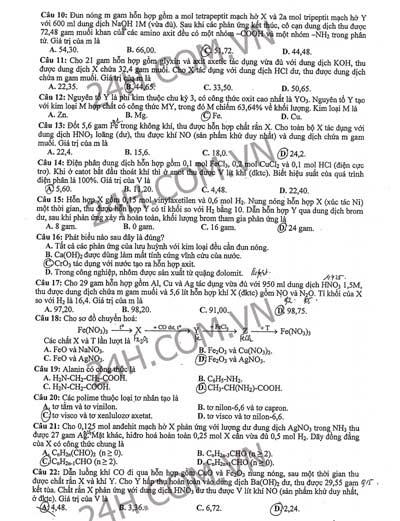 Đề thi, đáp án tham khảo môn Hóa khối B - 2
