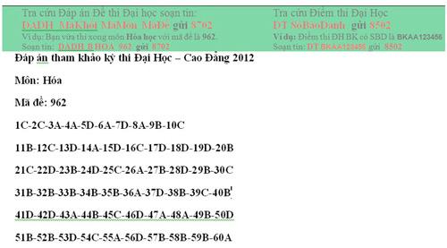 Đề thi, đáp án tham khảo môn Hóa khối B - 6