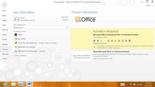 Microsoft Office 15  ci nhn u tin, Cng ngh thng tin, Office 15, Microsoft Office 15, Technical Preview, MS Office 2010,  MS Office 15, office 15 beta, giao dien, phien ban word, Windows 8, bo cai office 15, MS Word 2010, Office 2010 Professional Plus, Microsoft ID, Office 15 Technical Preview, office 15 download, office 15 vn-zoom, Windows 8 Consumer Preview, Microsoft My Site Documents, tn  cng ngh, giao dien metro, giao din ribbon, tin hoc van phong, cong nghe thong tin, cong nghe.
