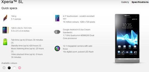 Hàng 'khủng' Sony Xperia SL chính thức ra mắt - 1