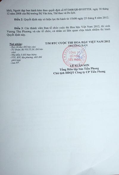 Vương Thu Phương bị đình chỉ thi hoa hậu - 5