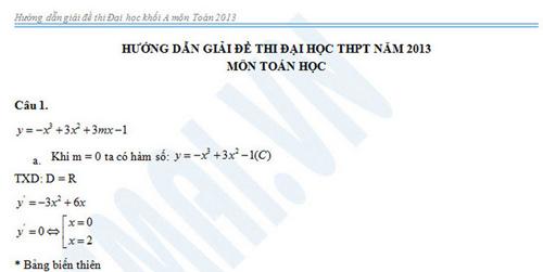 Gợi ý giải môn Toán khối A năm 2013 - 1