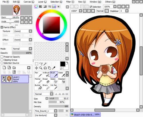 Vẽ Chibi trên Windows bằng PaintTool SAI.