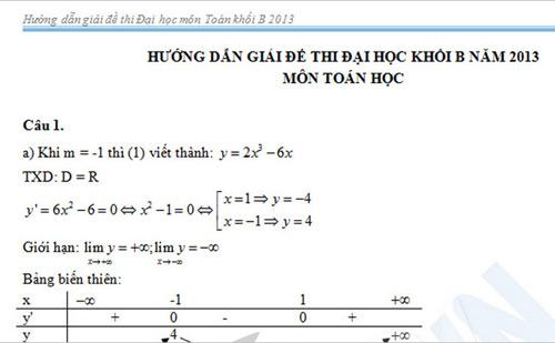 Đã có gợi ý giải môn Toán khối B, D - 2