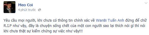 Sốc vì tin đồn Wanbi Tuấn Anh đột tử, Ca nhạc - MTV,