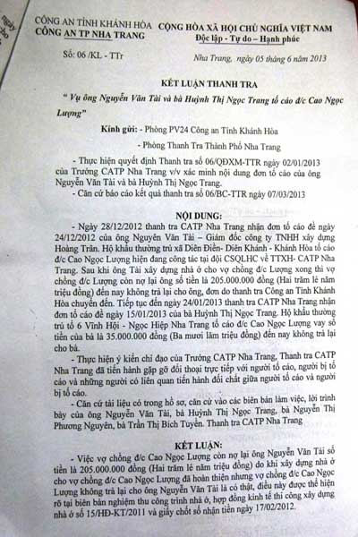 Đại úy CA bị tố vì không trả tiền xây nhà - 1