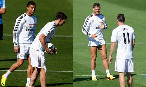 "Ronaldo ""dằn mặt"" Bale trên sân tập? - 7"