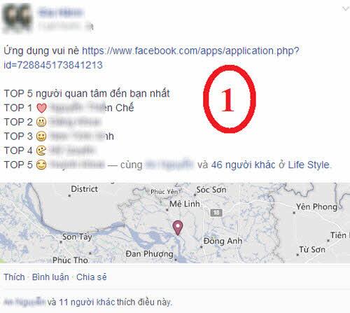 """Ứng dụng """"top 5 người quan tâm"""" đánh cắp tài khoản Facebook - 1"""