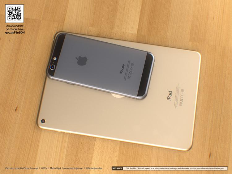 Mới đây, chuyên gia thiết kế Martin Hajek đã tung ra bộ ảnh thiết kế của mẫu iPhone 6 và iPad mini 3 mới sẽ ra mắt vào mùa thu năm nay. Cả hai phiên bản khái niệm dựng ở dạng 3D này đều được xây dựng dựa trên những bản mock-up, thông tin, hình ảnh rò rỉ, nhưng có độ sắc nét và rất gần gũi với các sản phẩm của Apple.