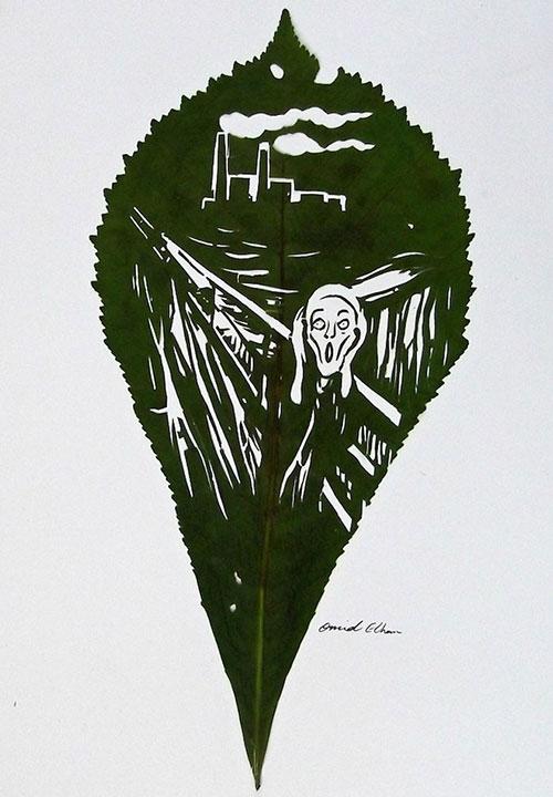 Chàng trai sáng tạo nghệ thuật trên lá đến khó tin - 7