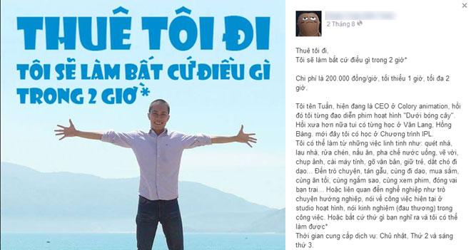 Chàng trai Việt cho thuê thân giá 200.000 đồng/giờ - 1