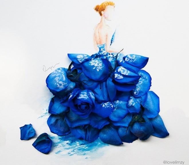 Cô gái thiết kế váy dạ hội tuyệt đẹp từ cánh hoa - 1