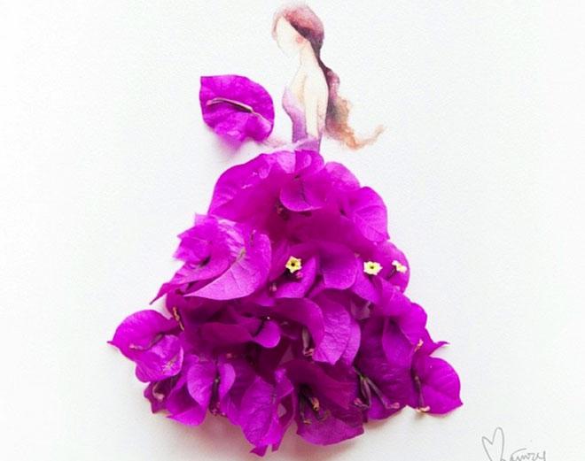 Cô gái thiết kế váy dạ hội tuyệt đẹp từ cánh hoa - 6