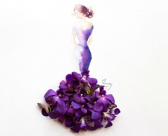 Cô gái thiết kế váy dạ hội tuyệt đẹp từ cánh hoa - 9