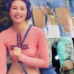 Thời trang - Jeans rách mảng lớn khó mặc vẫn hút sao Việt