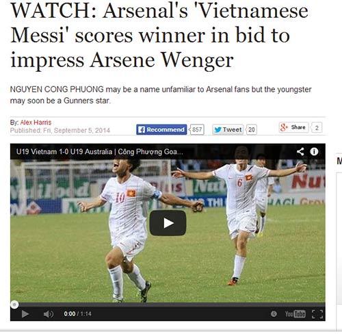 Ghi siêu phẩm, Công Phượng được tiến cử với Wenger - 1