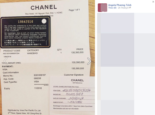 Angela Phương Trinh lại khoe hàng hiệu kèm hóa đơn - 1