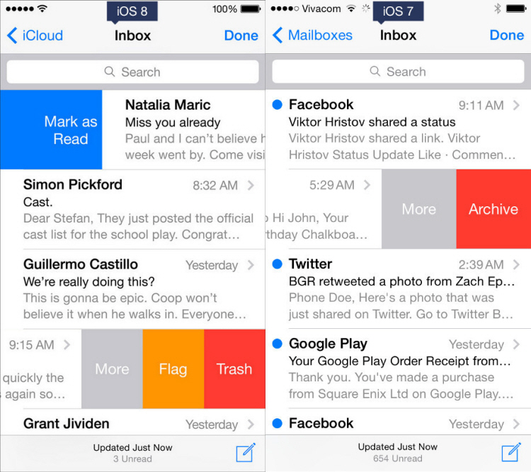 Sự khác biệt trong thiết kế giao diện của ứng dụng Mail trên iOS 8 và iOS 7.