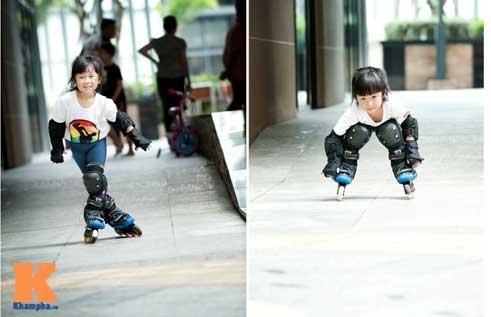 """""""Thiên thần"""" nhí 3 tuổi trượt patin như làm xiếc - 2"""