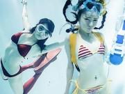 """Thời trang - Thiếu nữ Nhật """"cuồng"""" mặc nội y chụp ảnh dưới nước"""